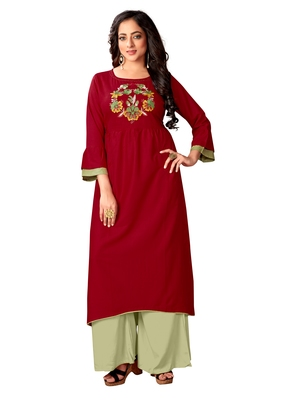 Blissta Maroon Color Rayon Embroidered Straight Kurti For Women's