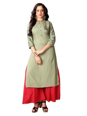 Blissta Mehndi Green Rayon Embroidered Straight Kurti