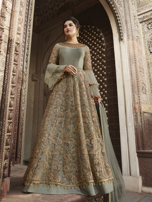 Slate-grey embroidered net salwar