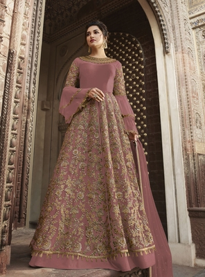 Light-onion-pink embroidered net salwar