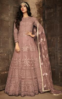 Light-brown embroidered net salwar