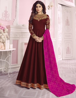 Maroon embroidered silk salwar