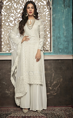 Off-white embroidered faux georgette salwar