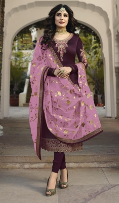Dark-wine embroidered satin salwar