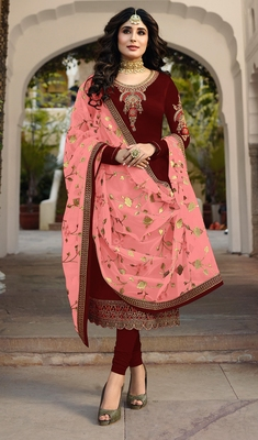 Maroon embroidered satin salwar