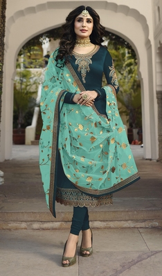 Dark-turquoise embroidered satin salwar