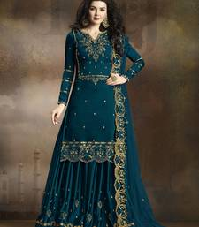 Dark-turquoise embroidered silk kameez with sharara
