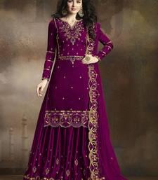 Dark-rani-pink embroidered silk salwar