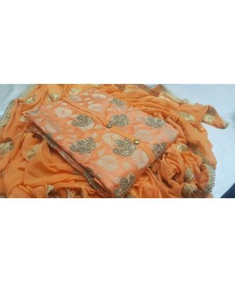 Women's Light Orange Dupion Silk Embroidered Unstitch Dress Material With Dupatta