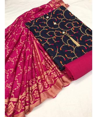 Women's Navy Blue & Pink Slub Cotton Embroidered Unstitch Dress Material with Dupatta
