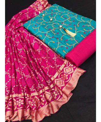 Women's Aqua Blue & Pink Slub Cotton Embroidered Unstitch Dress Material with Dupatta