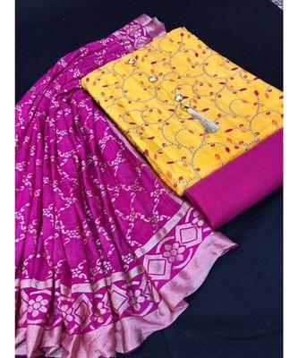 Women's Yellow & Magenta Slub Cotton Embroidered Unstitch Dress Material with Dupatta