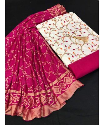 Women's White & Pink Slub Cotton Embroidered Unstitch Dress Material with Dupatta