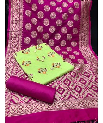 Women's Pista Green & Pink Chanderi Embroidered Unstitch Dress Material with Dupatta