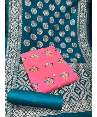 Women's Pink & Turquoise Chanderi Embroidered Unstitch Dress Material with Dupatta