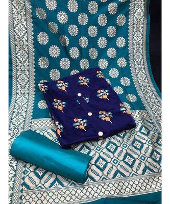 Women's Dark Blue & Turquoise Chanderi Embroidered Unstitch Dress Material with Dupatta