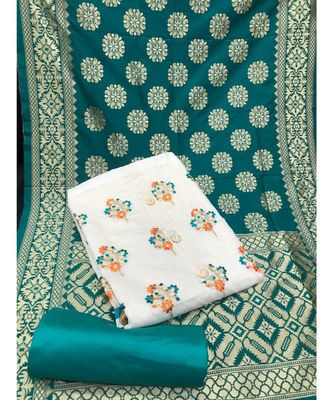 Women's White & Turquoise Chanderi Embroidered Unstitch Dress Material with Dupatta