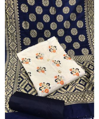 Women's White & Navy Blue Chanderi Embroidered Unstitch Dress Material with Dupatta