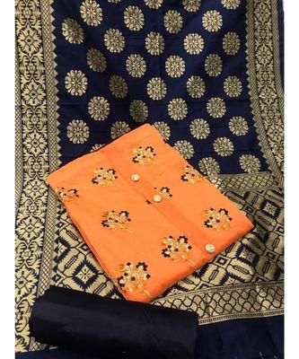 Women's Orange & Navy Blue Chanderi Embroidered Unstitch Dress Material with Dupatta