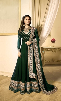 Green Embroidered Faux Georgette Anarkali
