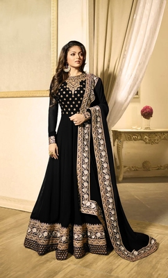 Black embroidered faux georgette salwar