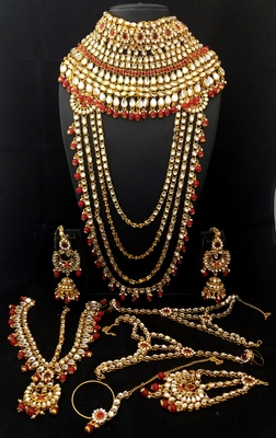 Designer Ethnic Indian Bollywood Red White Kundan CZ Pearl Full Bridal Huge Jewelry Set