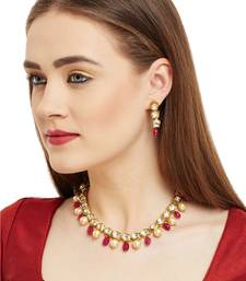 Maroon Kundan Necklace Set