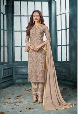 Light-brown embroidered faux georgette salwar