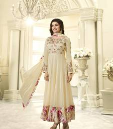 Light-yellow embroidered georgette salwar