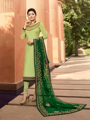 Light-green embroidered georgette salwar