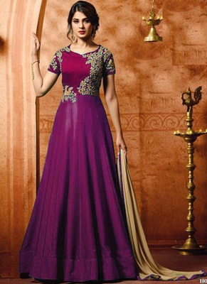 Purple embroidered satin salwar