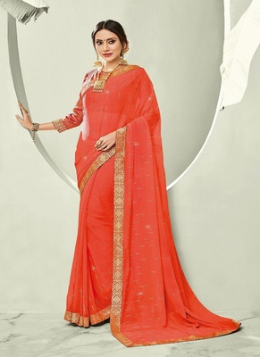 Salmon embroidered chiffon saree with blouse