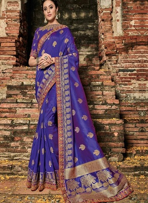 dark violet woven banarasi silk saree with blouse
