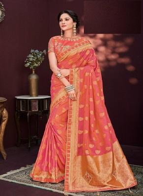 Coral woven banarasi silk saree with blouse