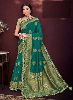 Dark teal woven banarasi silk saree with blouse