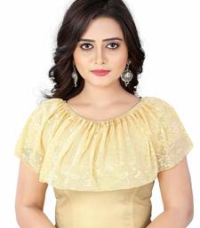 BEIGE COTTON LYCRA STRETCHABLE READYMADE FREE SIZE SAREE BLOUSE FOR WOMEN