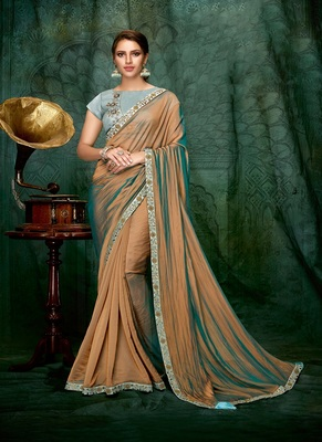 bronze embroidered silk saree with blouse