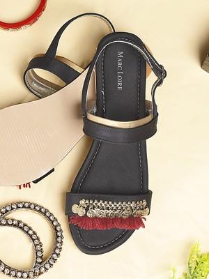 Women's Ethnic Black Sandels