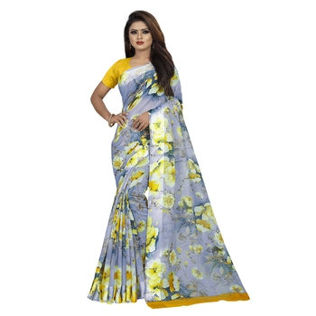 Multicolor printed bhagalpuri cotton saree with blouse