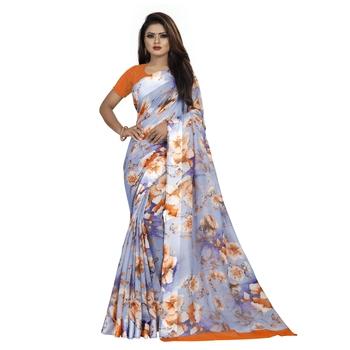 Multicolor printed bhagalpuri cotton saree with blouse