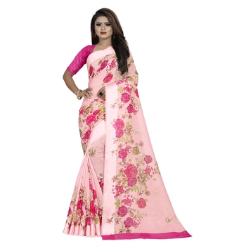Pink printed bhagalpuri cotton saree with blouse