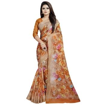 Orange printed bhagalpuri cotton saree with blouse