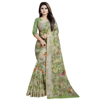 Green printed bhagalpuri cotton saree with blouse
