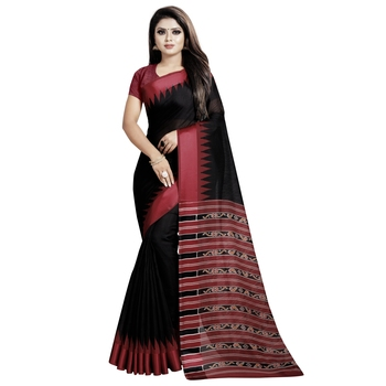Black printed bhagalpuri cotton saree with blouse
