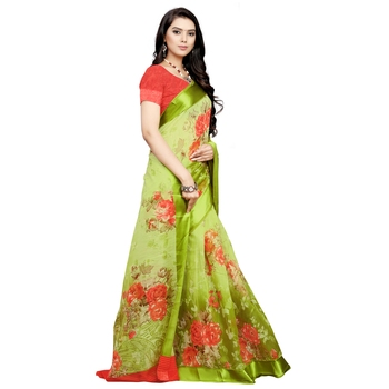 Green printed bhagalpuri cotton saree with blouse
