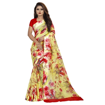 Yellow printed bhagalpuri cotton saree with blouse
