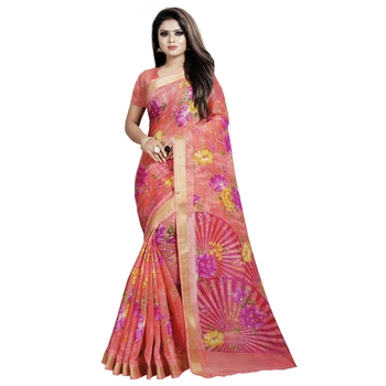 Pink printed bhagalpuri cotton saree with blouse