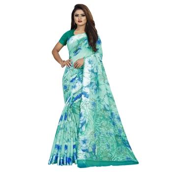 Blue printed bhagalpuri cotton saree with blouse