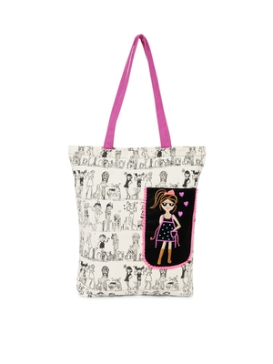 Off white side pocket doll embroidered tote bag