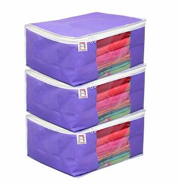 Atorakushon® Fabric Saree Cover Garments Wardrobe Organiser Pack of 3